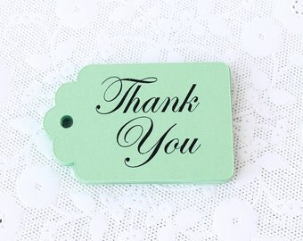 Mint Green Thank You Tag, 25 Thank You Tags, Mint Tags, Wedding Favor Tag, Label, Die Cuts, Mint Wedding Decor, Gift Wrap, Bridal Gift DIY