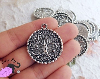 2 Charms pendants with Tree of Life 34x29 mm - Antique silver tone - SP47
