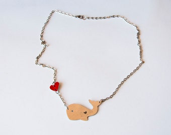 Necklace with cute whale and little red heart, animal jewelry, necklaces with animals, nature,fish,ocean, sea life, whales,gift ideas,love