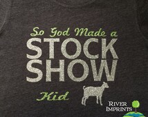 Youth STOCK SHOW, youth girls fitted or regular fit sparkly tee shirt
