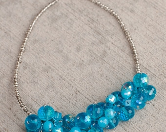 Turquoise beaded cluster necklace, Chunky turquoise necklace