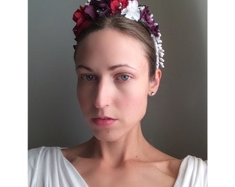 Renaissance Bridal Bridesmaid Floral Headpiece Flower Crown Apple Red Purple Plum White Pearl and Green Bride Hair Accessory Headband