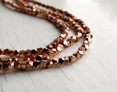 Copper-plated brass faceted beads - cornerless cubes (50) 2/2.5 x 2/2.5mm, brass beads, spacer beads, faceted beads
