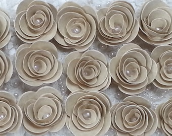 100 PAPER FLOWERS  VINTAGE Aged Style With Pearl Centre