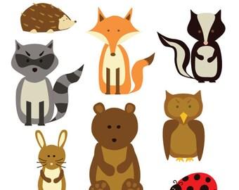 Woodland creatures clip art - 8 images of different woodland animals - Fox, owl, skunk, raccoon, rabbit, hedgehog, ladybird, bear clip art