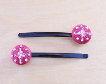 Red Patterned Faux Pearl Bobby Pins