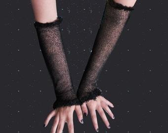 Long black mesh fishnet gloves festive arm warmers goth punk