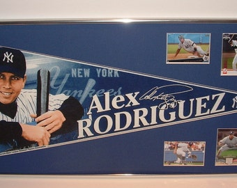 NY Yankees Alex Rodriguez Pennant Framed..with cards...Custom Framed!!!