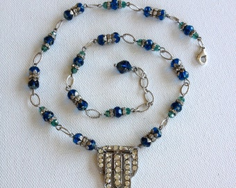 Necklace, repurposed vintage dress clip, teal, jewelry, necklace, vintage, dress clip, pot metal, paste, rhinestone, blue, art deco, wedding