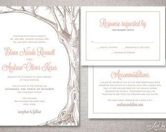 "Woodland Tree Custom ""Elena"" Wedding Invitation Suite - Rustic Shabby Chic Nature Invitations - DIY Digital Printable or Printed Invite"