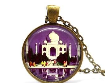 Taj Mahal necklace vintage travel India pendant wonders of the world.