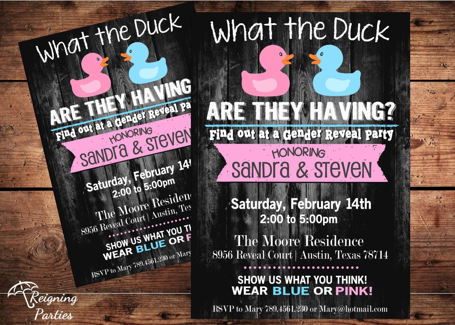 Funny Duck Gender Reveal Invitation Rubber by ReigningParties - photo#20