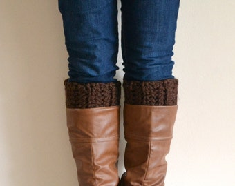 Brown Chunky Boot Cuffs // Boot Socks, Button Legwarmers, Boot Toppers