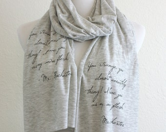 Mr. Rochester of Jane Eyre Book Scarf - Charlotte Bronte Quote Book Scarf - Literary Quote Gift for Book Lover Women's Scarf