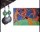 MATISSE Green jade earrings, dangle, light green gemstone beads, handmade, Made in Italy, summer festival jewelry, boho party, FREE shipping