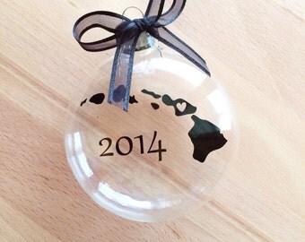 Custom Hawaii Christmas Ornament with Year, Travel, USA