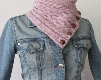 Knit pattern, Pink chunky knit cowl scarf, neckwarmer, vintage buttons, cable pattern, DIY