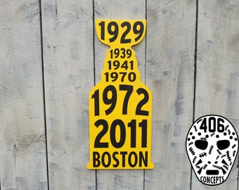 Painted Wooden Boston Cup Years Sign