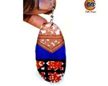 Blue And Gold Kitenge Earrings, African Ankara Fabric Earrings, Ankara Print Earrings,Party Earrings, African Print Earrings By Zabbadesigns