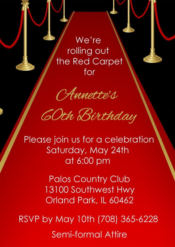 Red Carpet Invitation Adult By AnnounceItFavors