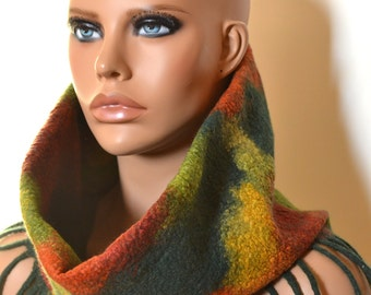 Cowl Scarf AutumnColours, autumn, felt, wool, accessories, felted scarf, handmade