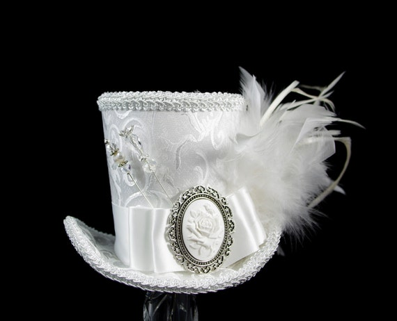 White on White Wedding Empress Collection Large Mini Top Hat Fascinator, Alice in Wonderland, Mad Hatter Tea Party, Derby Hat