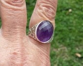 vintage 10ct genuine amethyst bezel set sterling ring  a7954458