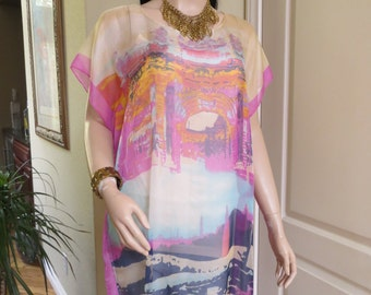 Sheer Pastel Art Print Tunic,  Sheer coverup,  Sheer Art Print Blouse