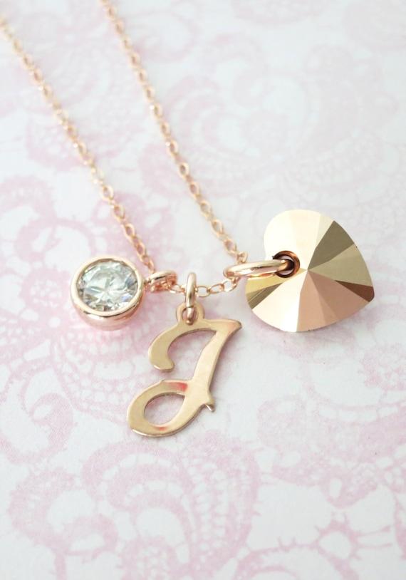 Personalized Rose Gold Heart necklace - rose gold filled necklace, forever love, Swarovski heart crystal, best friend, sister - N0021RG