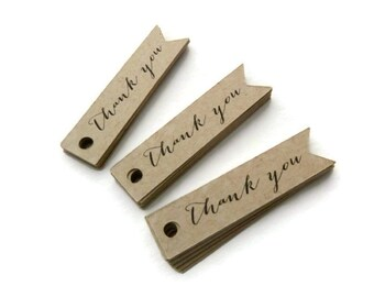 Thank You Tags - 80 Count - Hang Tags - 2 x 0.5 inches - Kraft Tags - Product Tags - Flag Tags - Wedding Favor Tags - Banner Tags TY5