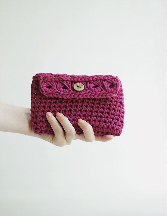 Items similar to SALE - Crochet Clutch Bag, Cosmetic Makeup Bag in ...