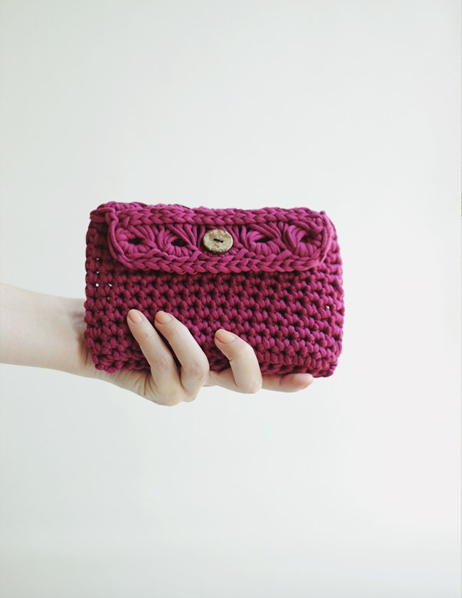Crochet Clutch Bag Cosmetic Makeup Bag in Purple Phone by Mitreva
