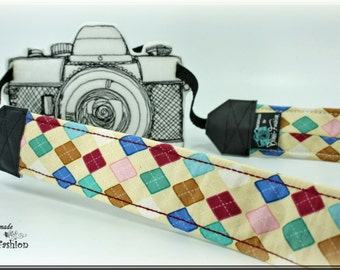 Camera strap, DSLR, camerastrap, light yellow, argyl