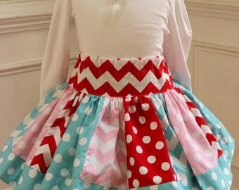 Girls Christmas skirt. Toddler baby girl Christmas skirt for outfit. Aqua pink red twirly skirt Holiday clothing. Size 2t 3t 4t 5 6 8 10 12