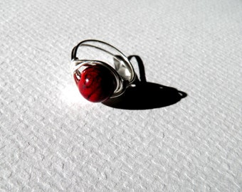 Deep Red Round Bead Wrapped Silver Wire Ring