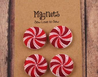 Fabric Covered Button Magnets - Peppermint