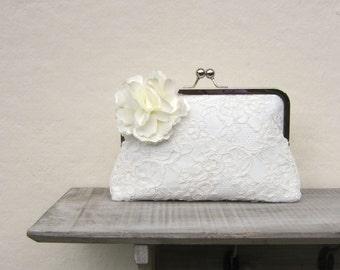 Ivory bridal clutch bag, lace wedding clutch with cream flower, ivory bridesmaids clutch, cream floral clutch, uk clutch, bobbie massey