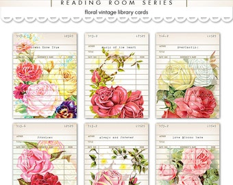 "Digital Shabby Chic Vintage Floral Library Cards / romantic rose ephemera cards / 3"" by 4"" / downloadable / printable"
