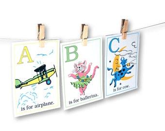 Digital retro baby ABC flashcards / printable alphabet nursery wall art / instant download / two sizes