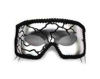 Black Lightning Silver Men's Masquerade Mask - A-1131S-E