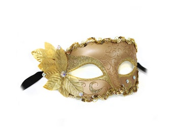 Thera Gold with Leaves and Jewels Women's Masquerade Mask - A-2371-R