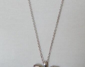 Vintage Pendant Handmade Green Onyx Silver Pendant on Long Chain - 1970's