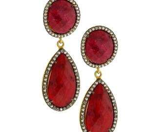 Two Stone Drop Earrings