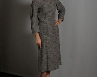 1950's Vintage Women's Mottled College Dress Wool Size XS