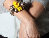 SALE 15% OFF!!! Statement Corsage Bracelet. Silver and yellow flower bells bracelet