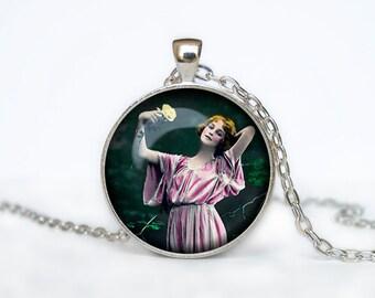 Vintage art nouveau woman pendant vintage beauty necklace beauty woman jewelry