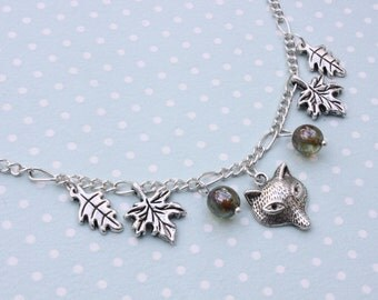Autumn necklace - Fox and leaves necklace