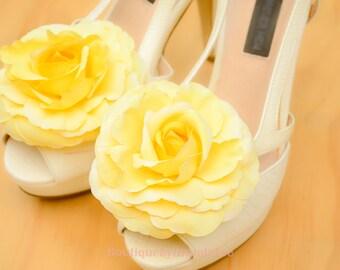 Yellow Camellia Shoe Clips