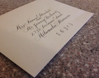 "Calligraphy Wedding envelope addressing Hand lettered Wedding Envelope Calligraphy Addressing ""Rook"""