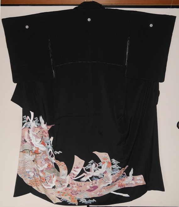 Unused Vintage Japanese Silk Kimono Black Tomesode by ...